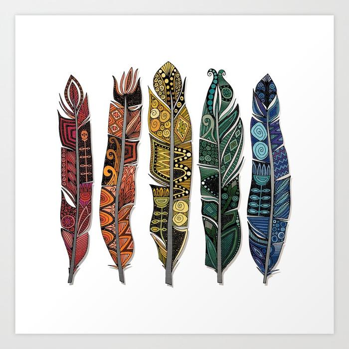 boho-rainbow-feathers-art-print-sharonturner-society6-feather-art-prints